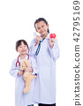 children pretend to be doctor standing over white  42795169