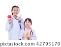 children pretend to be doctor standing over white  42795170