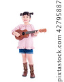 Little girl playing ukulele over white background 42795887