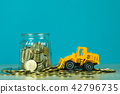 Mini bulldozer truck loading stack coin 42796735