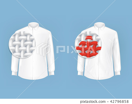 Set of illustrations of white shirts with magnifying glass. 42796858