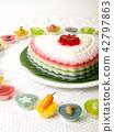 Colorful Coconut jelly Thai dessert 42797863