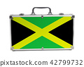 Vintage travel suitcase with Jamaica flag 42799732