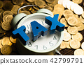 Time to pay TAX alphabet with coin and alarm clock 42799791