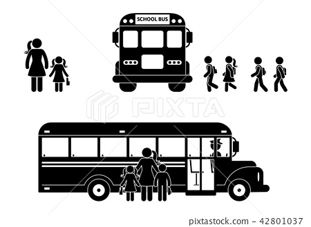 School boys and girls walking to bus stick figure 42801037