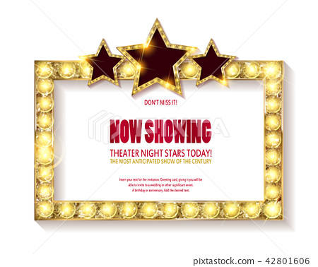 Theater sign or cinema sign on white background. 42801606