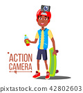 Child Boy With Action Camera Vector. Afro American Teenager. Red Helmet. Shooting Process. Active 42802603