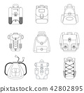 Tourist, city and school color backpack flat icon. Objects isolated. 42802895