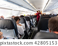 Interior of commercial airplane with passengers on their seats during flight. 42805153