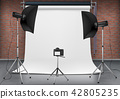 Vector empty photo studio with lighting equipment 42805235