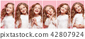The collage of happy human facial expressions, emotions and feelings of young teen girl. 42807924