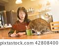 고양이, 여자, 여성 42808400