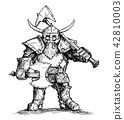 Vector Drawing Illustration of Fantasy Dwarf Warrior in Armor With Axes 42810003