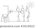 Cartoon of Three Exhausted Men Waiting in Hot Summer in Queue to Buy Soda, Water or Lemonade 42810022