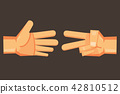 Rock-paper-scissors vector cartoon hand design. 42810512