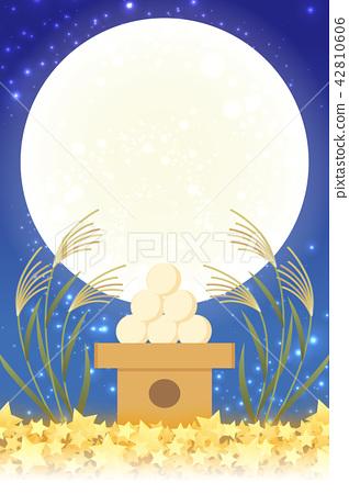 日式背景材料,月亮景觀,滿月,秋天,滿月,日本傳統活動,Susuki,月夜,中秋月亮,Kaguya Hime,Taketori物語 42810606