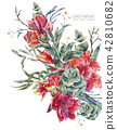 Watercolor floral template card of red flowers, Amaryllis 42810682