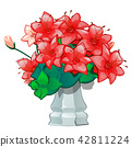 Red flowers in a vintage ceramic vase isolated on white background. Vector illustration. 42811224