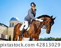 Handsome smiling man wearing helmet petting horse 42813029
