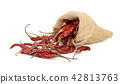 dried hotred chillies in a sack on white backgroud 42813763