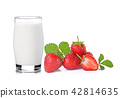 glass of milk and strawberry on white background 42814635