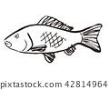 鯉魚 水墨畫 魚 42814964