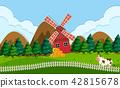 windmill, farm, vector 42815678