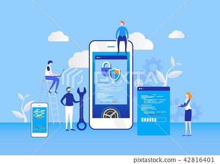 Mobile application development process. Developer. 42816401