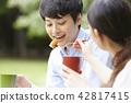 公园夫妇野餐 42817415