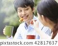 公园夫妇野餐 42817637