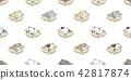 cat breed seamless pattern isolated box calico 42817874