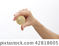Hand Of Woman Holding Bitcoin 42818605