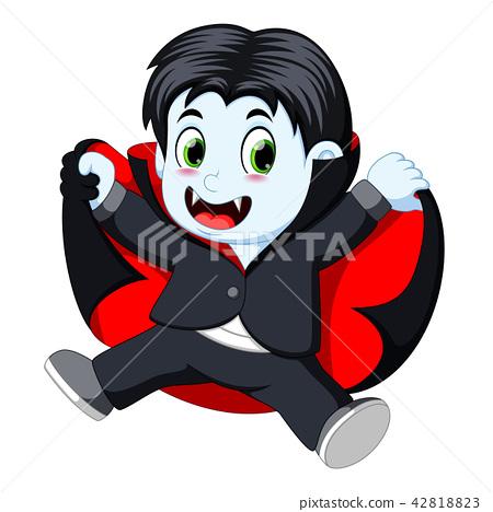 Funny cartoon little vampire 42818823