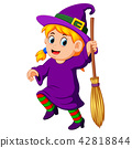 girl witch with a broom 42818844