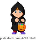 Cute kid witch walking in black cloak 42818849
