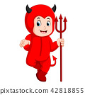 Little kids in halloween red devil costume 42818855