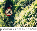 Roadside warning signs limit speed to 30 kmh. To reduce frequent accidents. 42821240