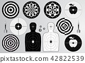 Set of shooting range target, dart board isolated 42822539