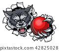 Wolf Cricket Mascot Breaking Background 42825028