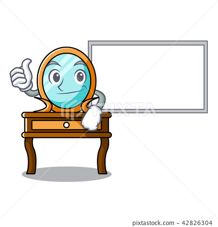 Thumbs up with board dressing table character cartoon 42826304