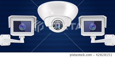 Security camera set. Wall and ceiling mount CCTV surveillance system on blue background. Front view 42828151