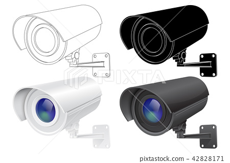 Security CCTV camera. Outline drawing, black silhouette and 3d model 42828171