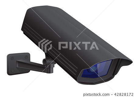 Security camera. Black CCTV surveillance system. Looking down 42828172