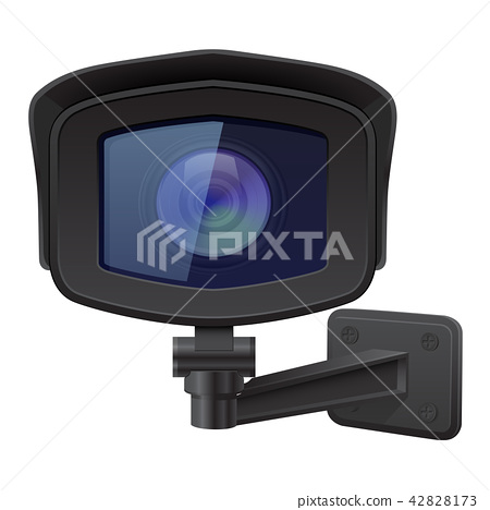 CCTV security camera. Front view. Black surveillance system 42828173