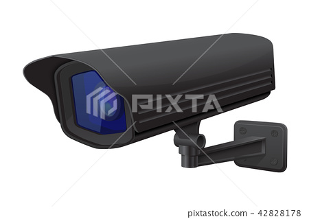 Security camera. Black CCTV surveillance system 42828178