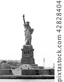 Statue of Liberty, New York City, USA. Black and white photo. 42828404