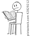 Cartoon of Annoyed Man Sitting on Chair and Reading a Book 42829212