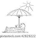 Cartoon of Man Enjoying in Inflatable Pool Under Umbrella With Drink in Hand 42829222