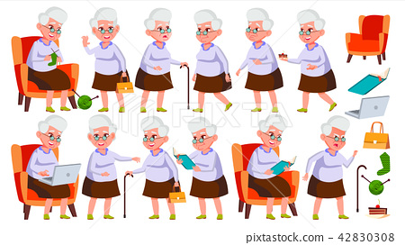 Old Woman Poses Set Vector. Elderly People. Senior Person. Aged. Friendly Grandparent. Banner, Flyer 42830308