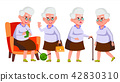 Old Woman Poses Set Vector. Elderly People. Senior Person. Aged. Funny Pensioner. Leisure. Postcard 42830310